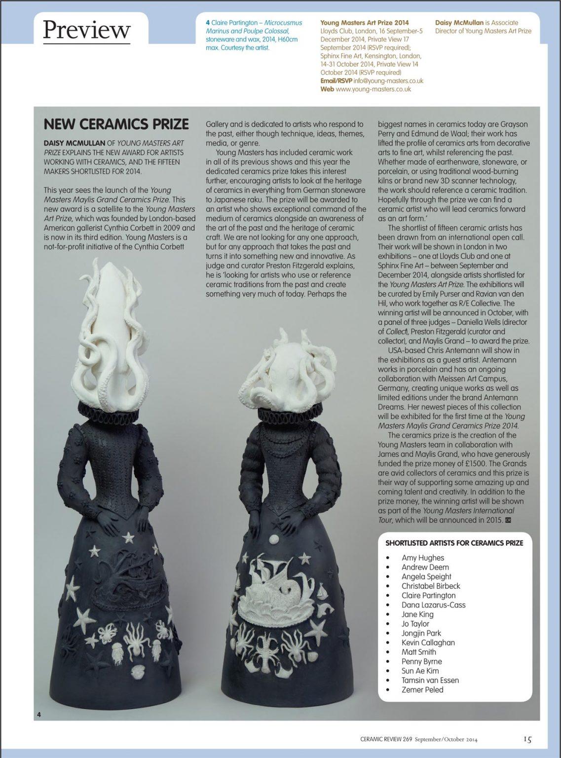 Claire Partington Featured in Ceramic Review