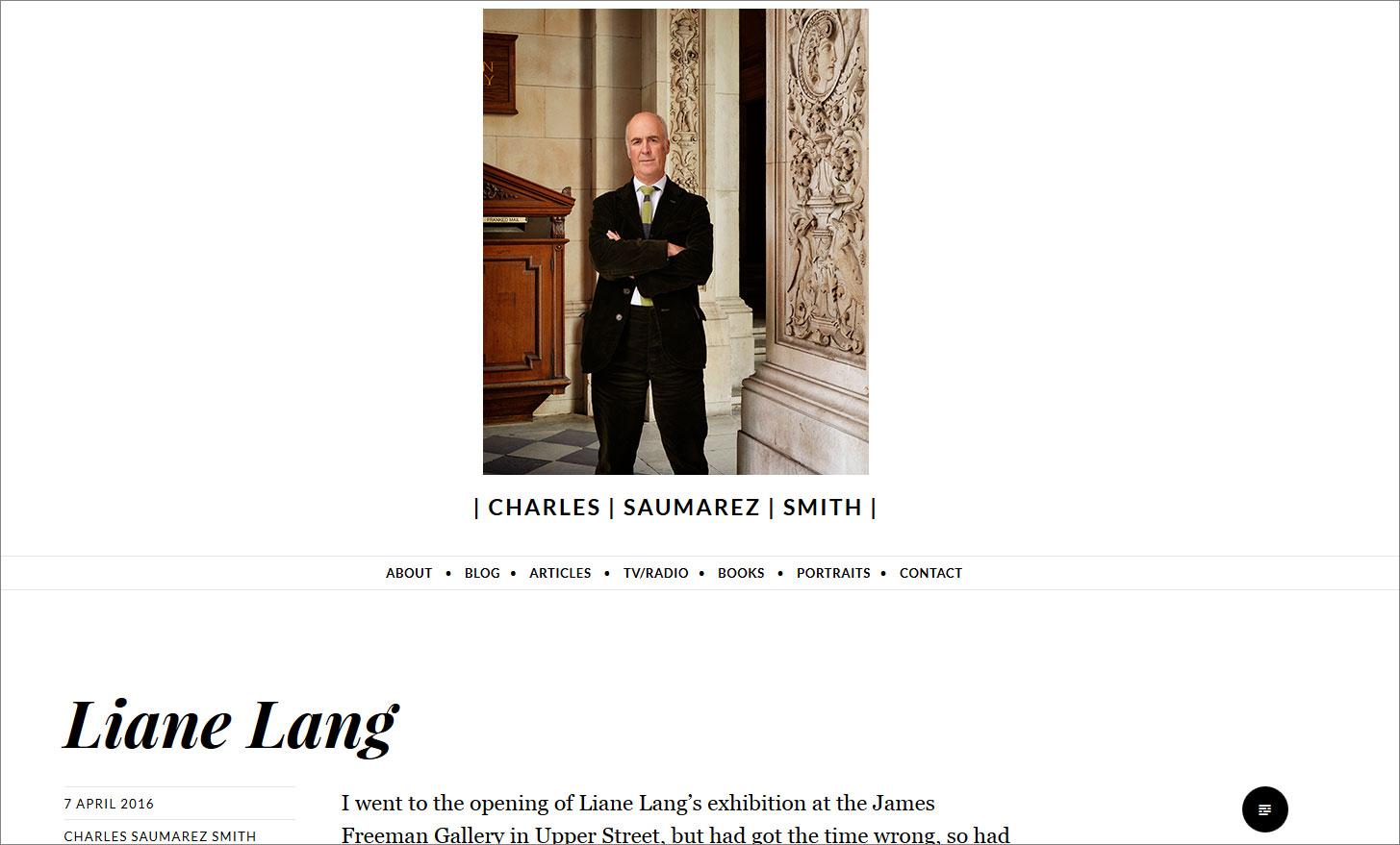 Charles Saumarez Smith on Liane Lang