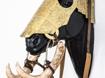Joshua Goode | Horse Head Armor with Carved Baby Mammoth Tusk Bridle