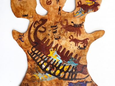 Joshua Goode | Cerberus Puppy Hide Painting of Bulls and Shipwreck
