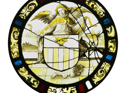 Medieval Stained Glass | An angel holding a shield with the arms of  the Willemaers Family