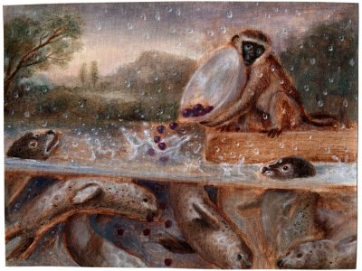 Monkey with Landscape Painting | Monkey with Seals and Plums