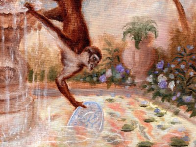 Monkey with Landscape Painting | Monkey with Carps