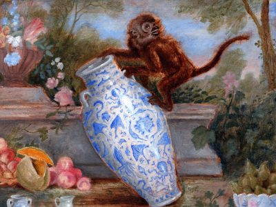 Monkey with Landscape Painting | Monkey with Large Vessel